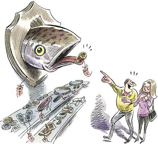 Fish with a ring in his mouth illustration