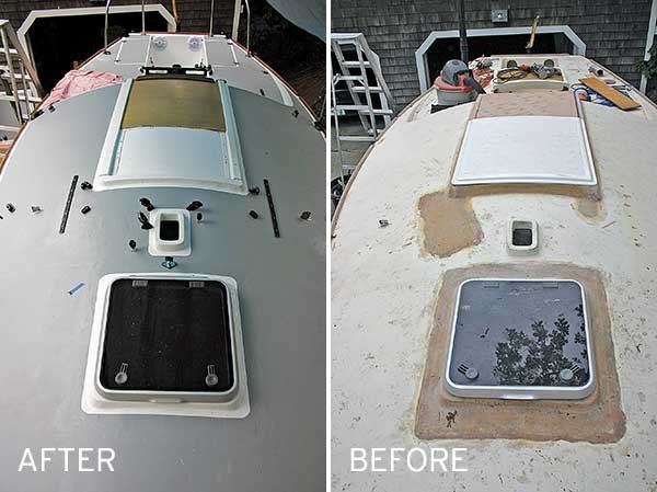 Tips for painting a boat deck boatus magazine before and after photos of deck repainting from the bow solutioingenieria Image collections