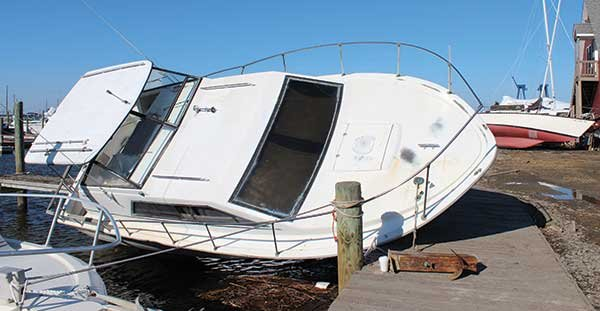 Photo of a hurricane damage boat