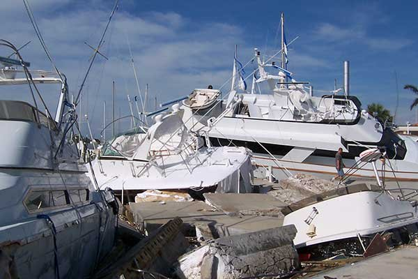 Photo of Hurricane Frances boats damaged