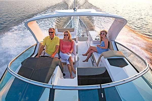 Photo of a family enjoying their powerboat