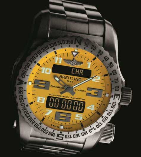Photo of a Breitling Emergency Cobra yellow-dial watch