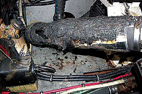 Photo of the aftermath of a exhaust hose fire