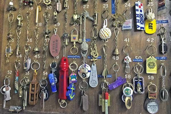 Photo of a collection of key rings from the ships Mare Culnane worked