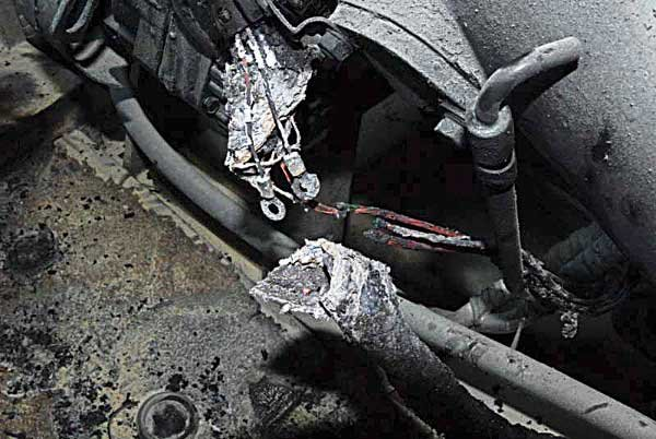 Photo of a charred wiring harnes