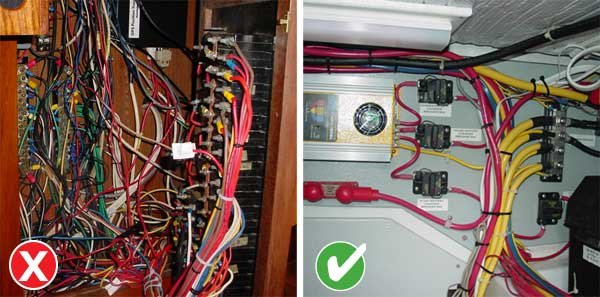Photo of examples of good and bad boat wiring