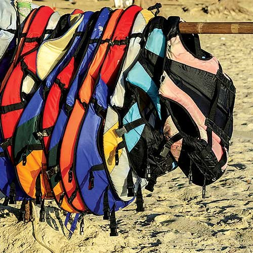 Photo of colorful life jackets