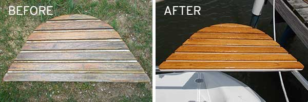Photo of before and after wood resurfacing of stern rail seats