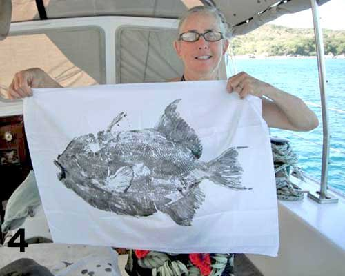 Photo of a finished gyotaku fish print