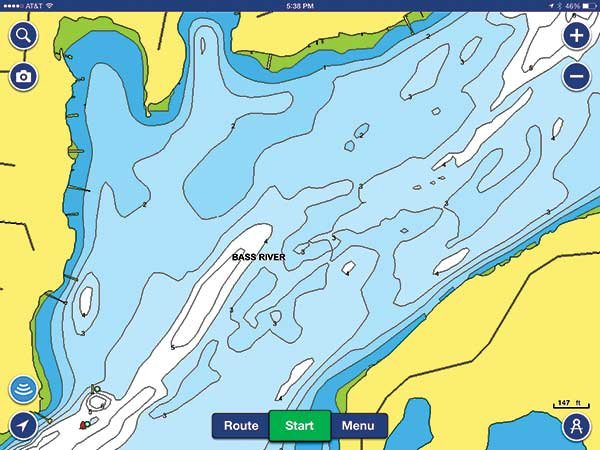 Navionics Bass River after