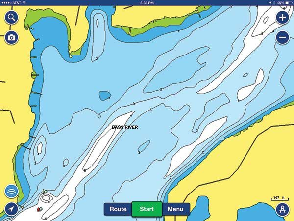Navionics Bass River before