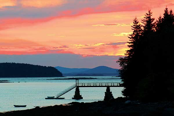 Photo of sunset over Deer Isle's Northwest Harbor