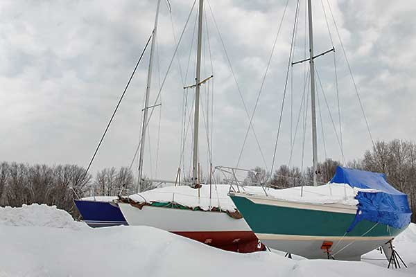 Photo of boats stored for winter