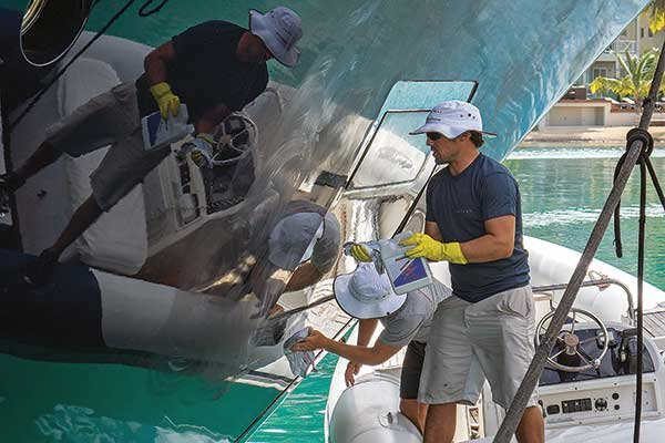 Photo of scrubbing a yacht hull