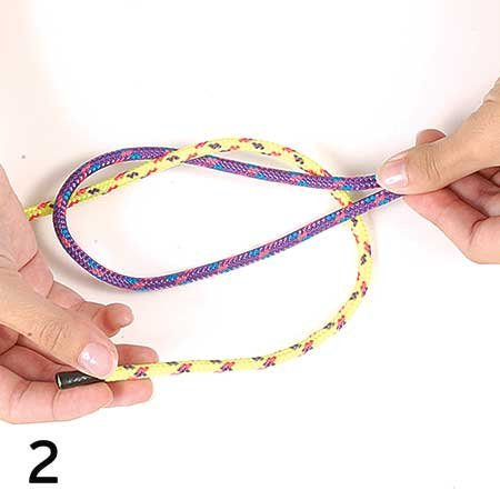 Photo of tying a sheet bend knot step 2