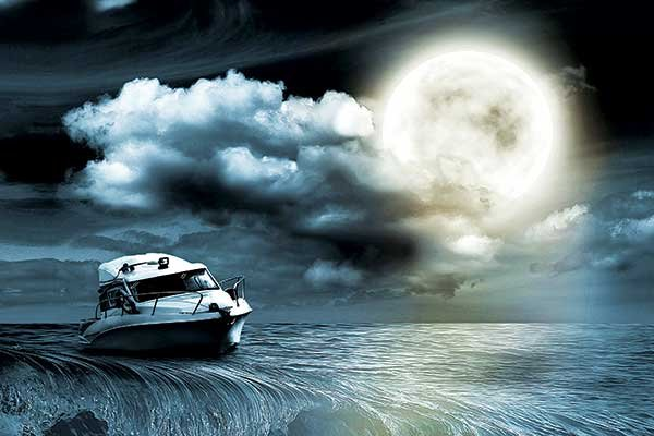 Stormy night at sea illustration