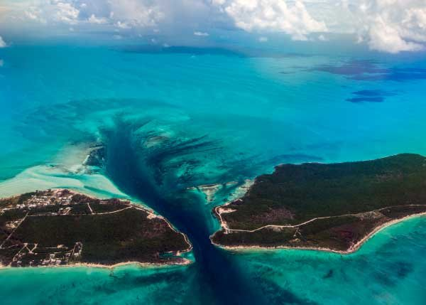 Aerial photo of the Current Cut Eleuthera Bahamas