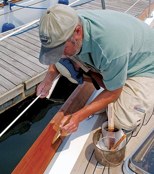 Varnishing boat trim