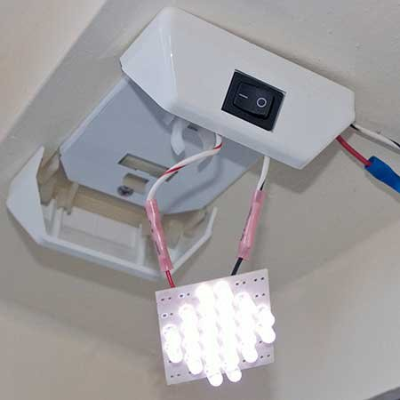 Dome light retrofitted with LED array