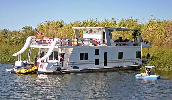 Houseboat anchored on the San Joaquin River