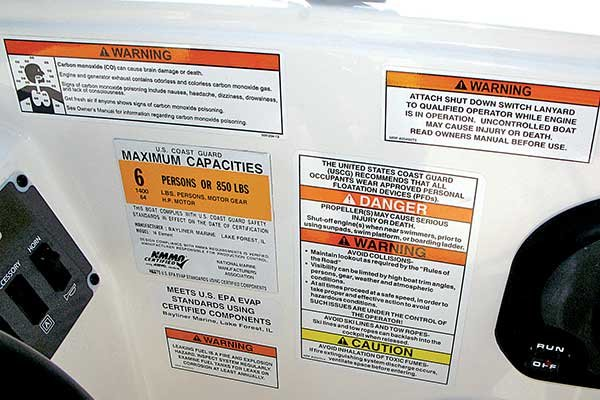 Safety labels on a boat