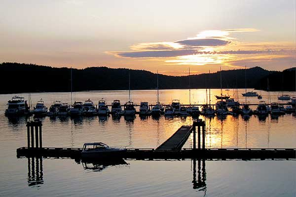 Sunset across the marina on South Pender Island