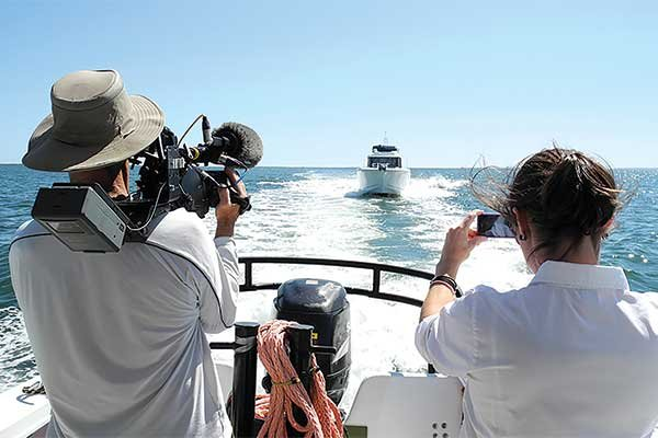 Taking video off the stern of a powerboat