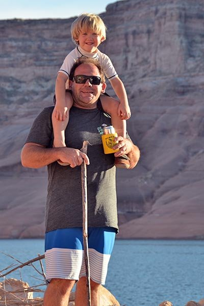 Collecting walking sticks and hiking Lake Powell