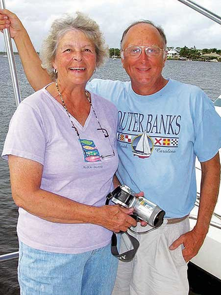 Connie and Ged Bryon aboard their boat