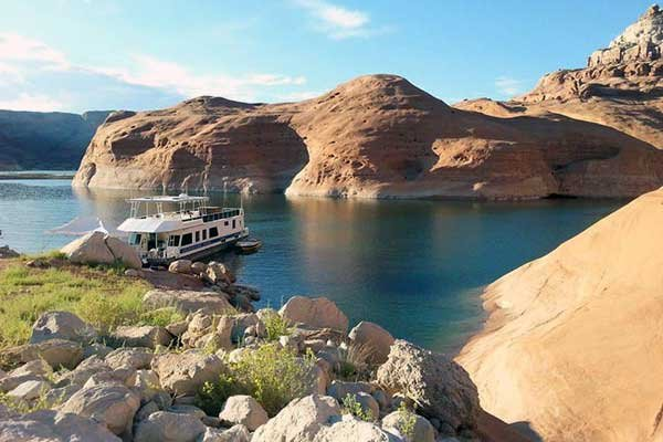 Houseboat anchored on Lake Powell
