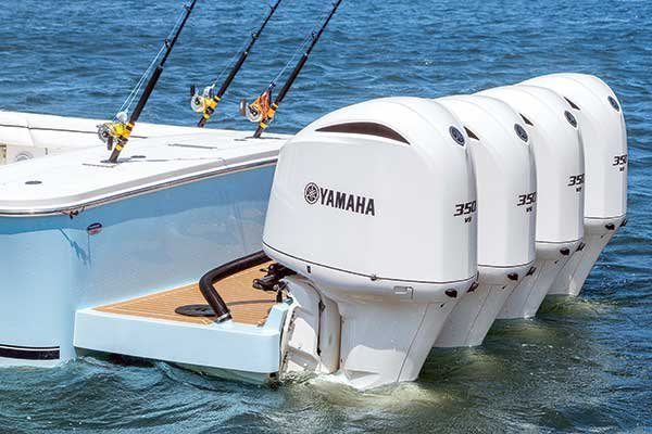 Quadruple 350-hp Yamaha outboards on a Regulator 41 sportfishing boat