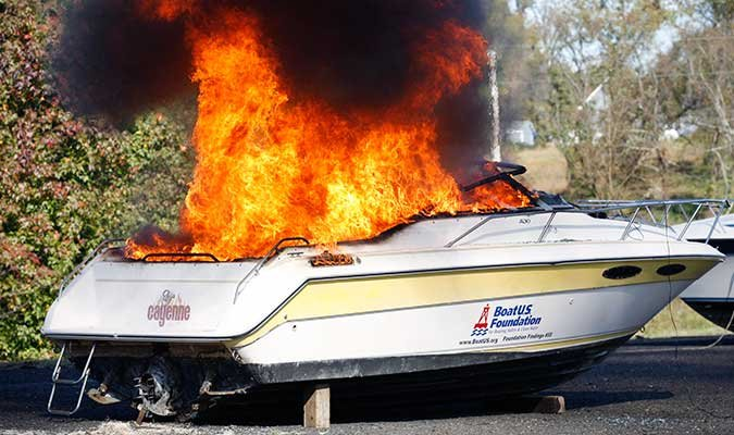 Engine compartment boat fire