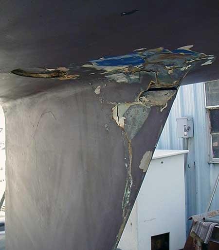 Hull damage from lightning strike