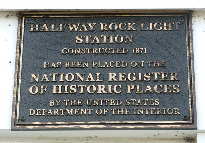 Halfway Rock Light Station plaque