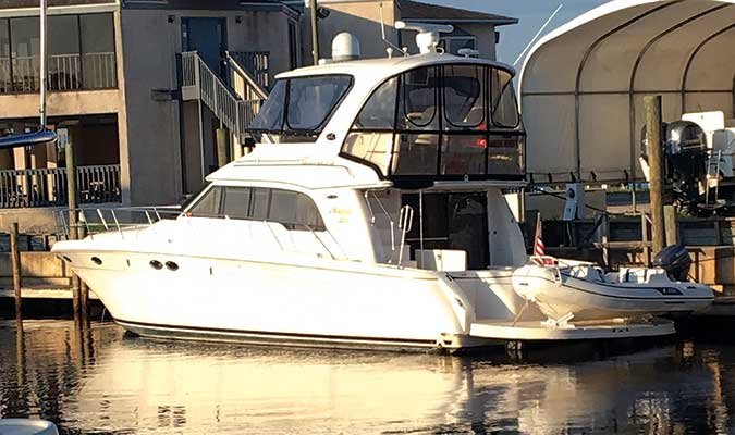 Moondance, a 480 Sea Ray, is the 34th boat owned by BoatUS members Cheryl and Scott Culshaw