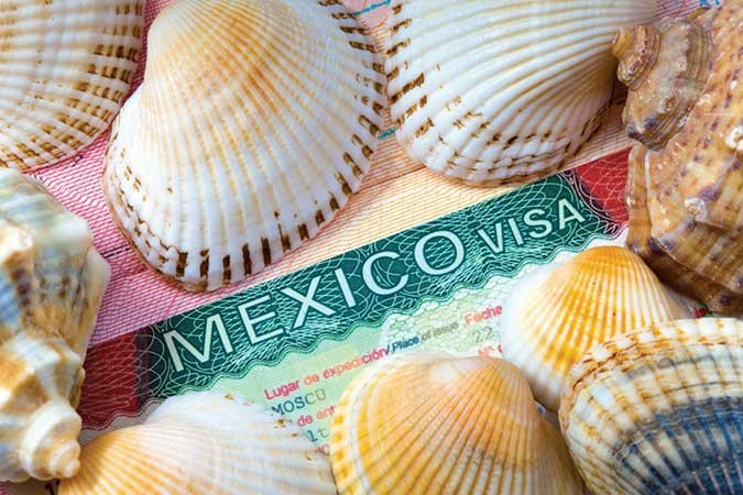 Seashells surrounding Mexican Visa
