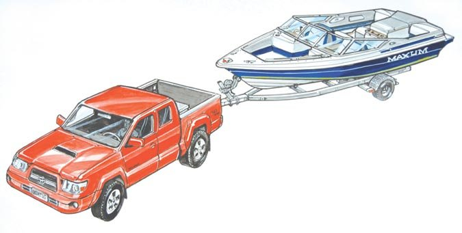 Boat and trailer illustration