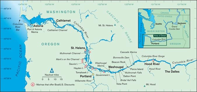 Map Columbia River Columbia River Cruising Guide   BoatUS Magazine