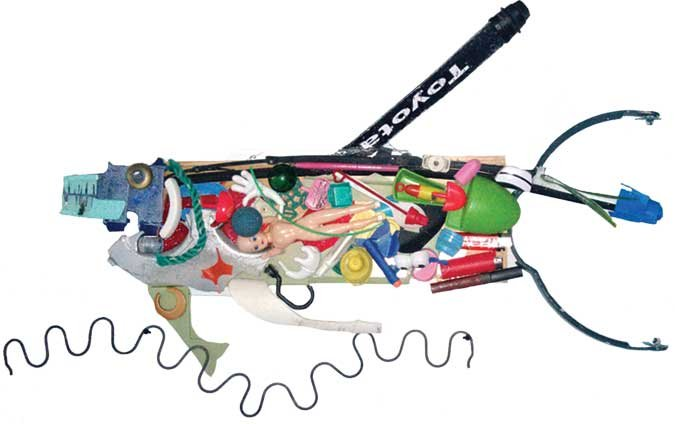Fish sculpture created from plastic flotsam and jetsam