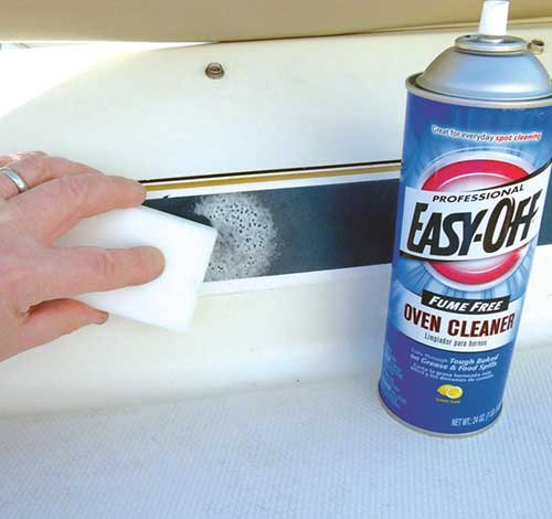 Removing paint with oven cleaner