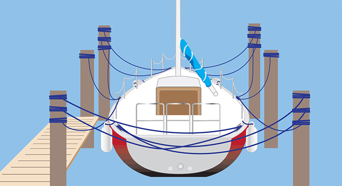 Securing boat in slip with docklines illustration