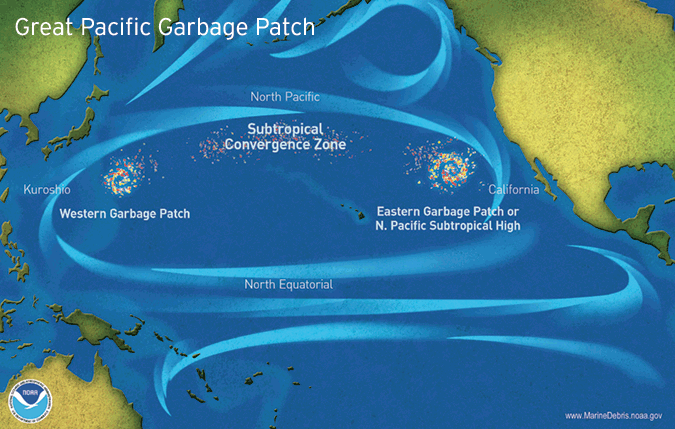 The Great Pacific Garbage Patch map