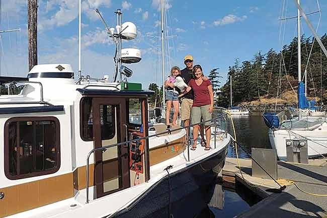 Family chartering a boat in the Pacific Northwest