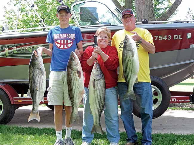 Family fishing with big catch