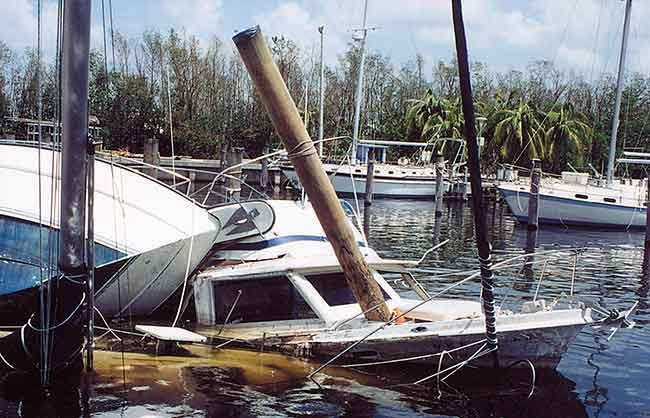 Hurricane Andrew boat damage