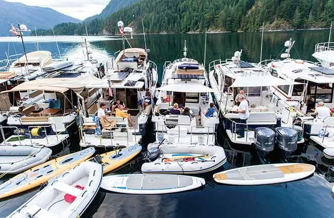 Ranger Tug owners raft up at Desolation Sound