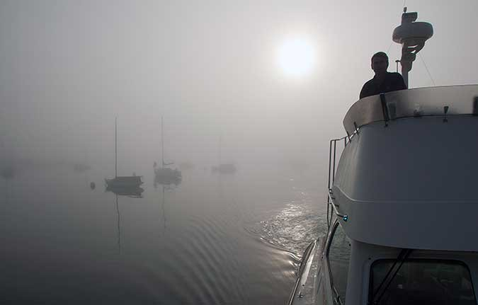 Navigating a powerboat in fog