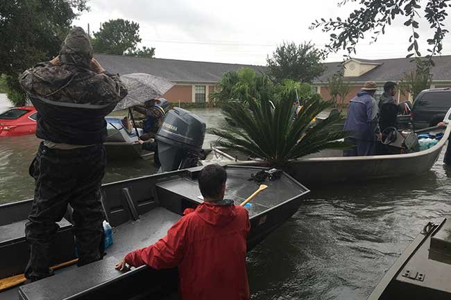 Boat rescue in the flood waters from Hurricane Harvey