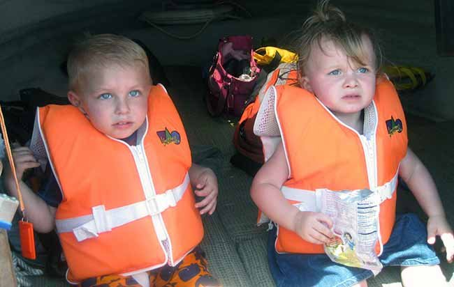 Jake and Kayla in lifejackets