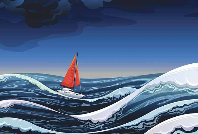 Sailboat in rolling seas illustration